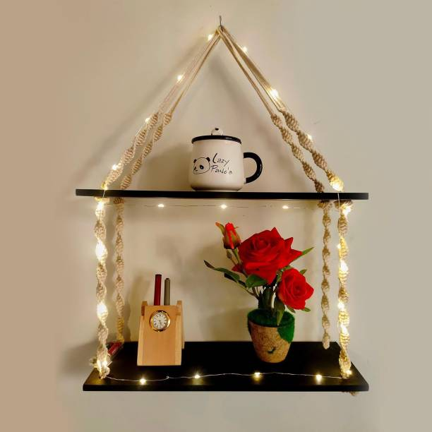VAH Wood Macrema Knotting Rope 2 tier Wall hanging Wall shelf With LED light Wooden Wall Shelf