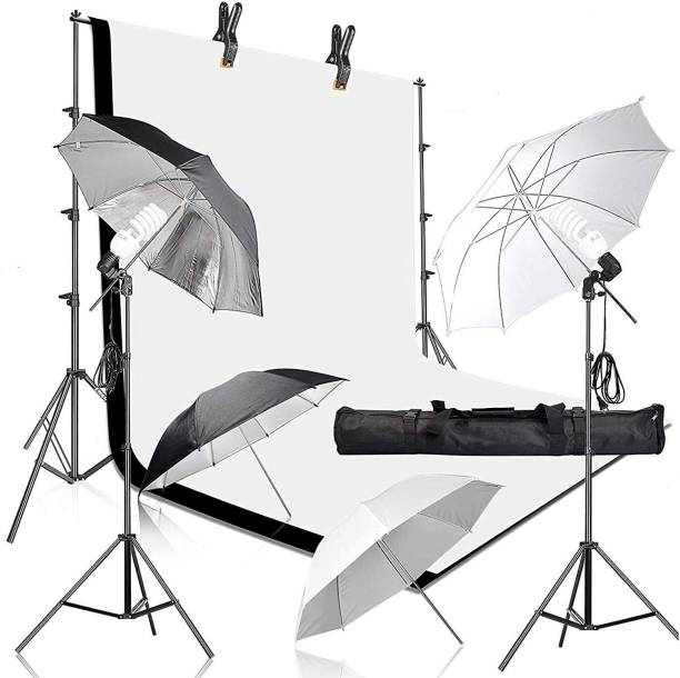 Hiffin HF Daylight Umbrella Continuous Lighting Kit, 8x14ft Background Support System with 2 Muslin backdrops (Black and White) for Photo Studio & 18 W Bulb Product, Portrait and Video Shoot Photography Reflector
