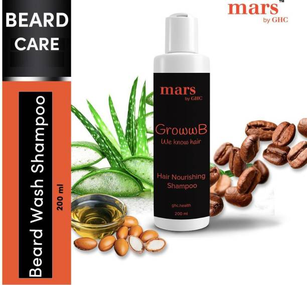 mars by GHC Beard Wash Shampoo for Men (200ml) |Aloe Vera, Argan Oil & Caffeine |For Cleaner & Strong Beard Growth | Hair Nourishment | NO Sulphates & NO Parabens…