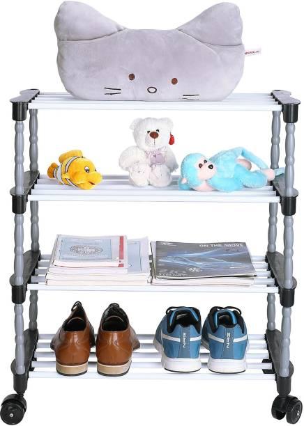 FLIPZON Premium 4 Shelve Smart Shoe Rack/Multipurpose Storage Rack with Wheels Metal, Plastic Collapsible Shoe Stand