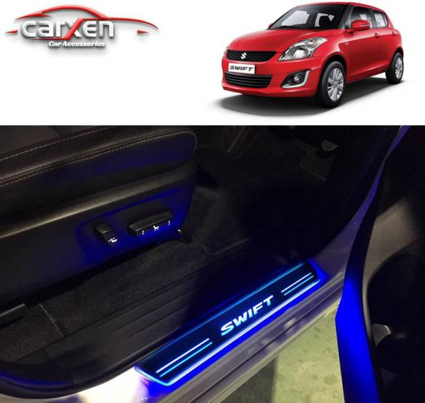 carxen Car Door Foot Step Led Sill Plate With Mirror Finish for compatible with MARUTI SUZUKI -2018(Set of 4PCS, Blue) Door Sill Plate