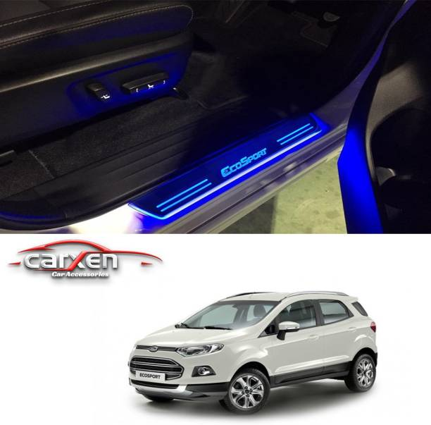 carxen Car Door Foot Step Led Sill Plate With Mirror Finish for compatible with Ford Ecosport (Set of 4PCS, Blue) Door Sill Plate Door Sill Plate