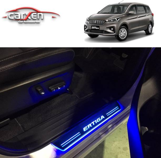 carxen Car Door Foot Step Led Sill/Scuff Plate With Mirror Finish for MARUTI ERTIGA 2018 Onwards (Set of 4Pcs, Blue) Door Sill Plate
