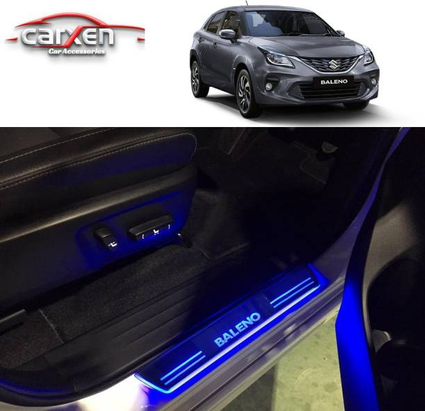 carxen Car Door Foot Step Led Sill Plate With Mirror Finish for compatible with Maruti Suzuki Baleno (Set of 4PCS, Blue) Door Sill Plate