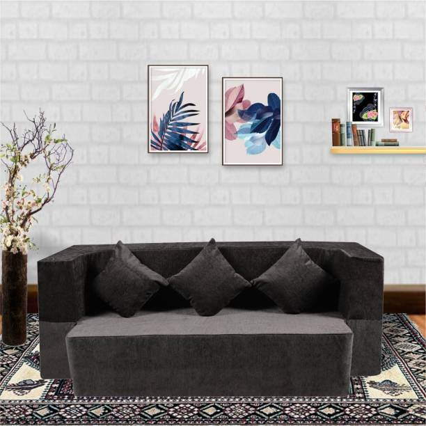 Seventh Heaven Molfino Fabric 3 Seater Sofa cum Bed with 3 Cushions Double Sofa Bed