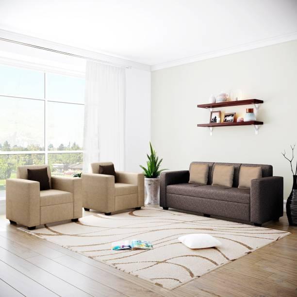 Flipkart Perfect Homes Burano Fabric 3 + 1 + 1 Cream and Dark Brown Sofa Set