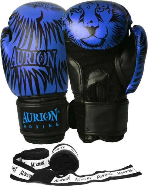 """Aurion Molded Faux Leather Boxing Gloves for Muay Thai Kickboxing MMA with Hand wrap 176"""" Boxing Gloves"""