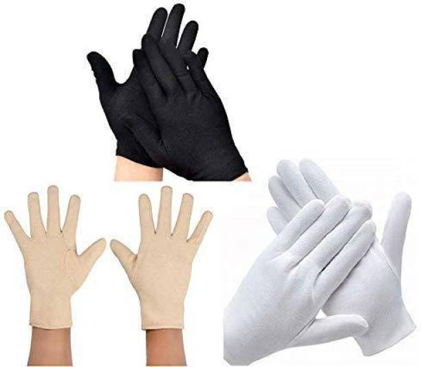 Raisons Pack Of 3, Men & Women Cotton Hand Gloves for Protection from Pollution Free Size Riding Gloves