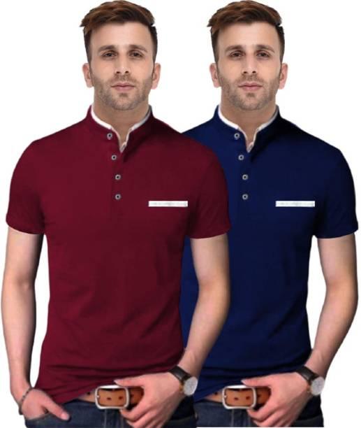 FastColors Solid Men Mandarin Collar Blue, Maroon T-Shirt
