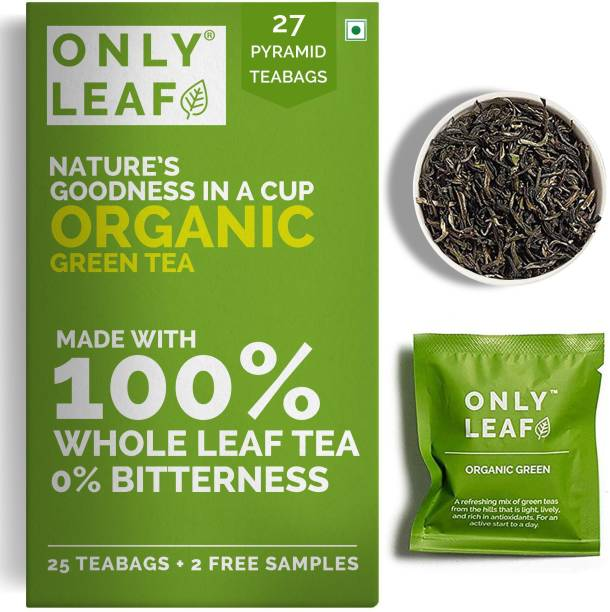 Onlyleaf Organic Green Tea for Weight Loss, Made with 100% Whole Leaf, Sourced from Highlands of Darjeeling, 27 Pyramid Tea Bags (25 Tea Bags + 2 Free Samples) Green Tea Bags Box