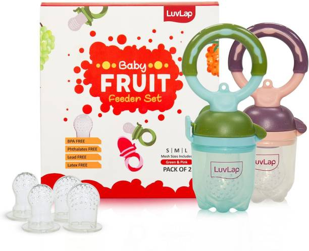 LuvLap Baby Food and Fruit Feeder Twin Pack with Three Feeder Sack Sizes, BPA Free Feeder