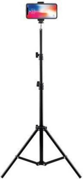 """mafya 6.9"""" feet (210cm) Metal strong mobile phone tripod/camera stand,beauty ring fill light stand, photography umbrella ,selfie video recording [2.1 meters tripod] with mobile Holder clip Tripod Kit Tripod Kit"""