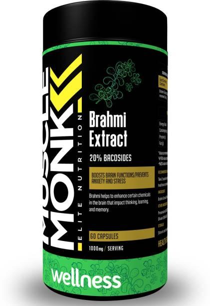 MuscleMonk Brahmi 1000mg   Bacosides Extract 20%   60 Veg Capsules