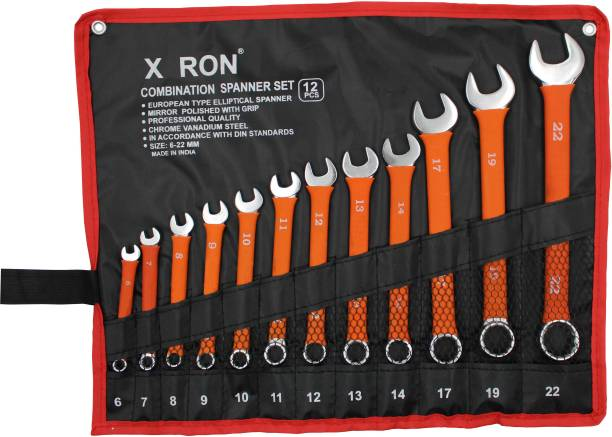 XRON 12 PCS INSULATED COMBINATION SPANNER SET PROFESSIONAL TOOL Double Sided Combination Wrench