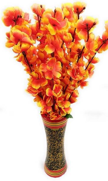 Laddu Gopal Laddu Gopal Artificial Blossom Flowers (Orange, 1 Sticks Vase Not Include) Orange Peach Blossom Artificial Flower  with Pot
