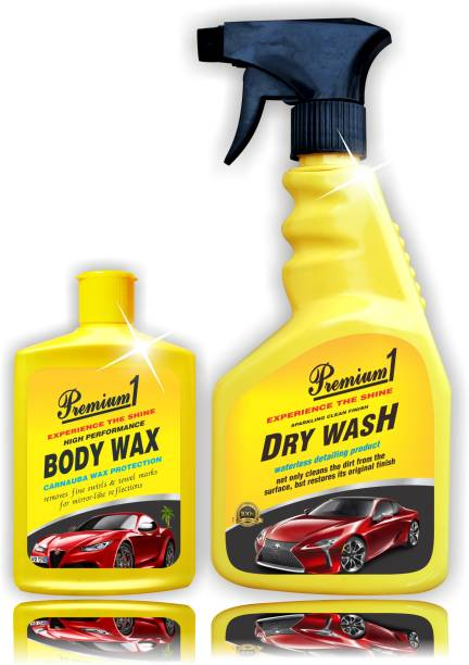 Premium1 Car Body Wax 150ml, Car Dry Wash Combo