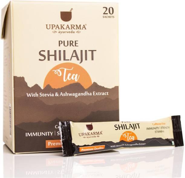 UPAKARMA Ayurveda Pure Shilajit Tea with Shilajeet, Stevia, Ashwagandha Extract and 12 Plus Ayurvedic Herbs to Boost Immunity, Strength, and Stamina, Pack of 20 Sachets (1000mg each) Set of 1