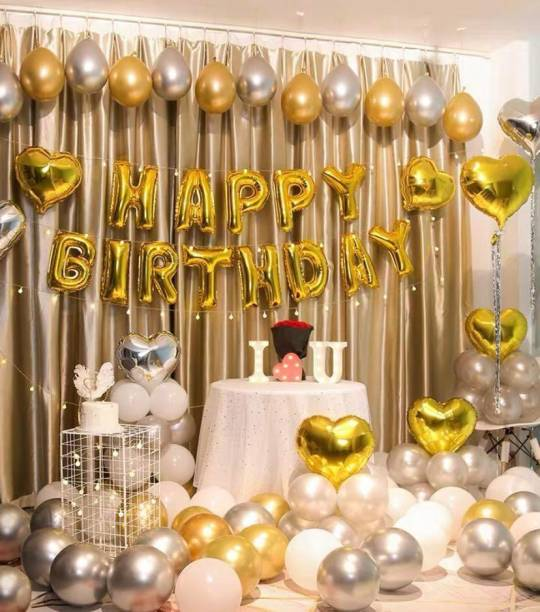 Devansh enterprises Solid Golden Happy Birthday Foil balloon With Metallic Golden Silver Balloons(Pack Of 43) Letter Balloon