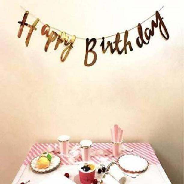 SQE Gold Calligraphy Happy Birthday Banner, Decorative Items Decor Banner