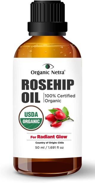 Organic Netra 100% USDA Certified Pure Organic Rosehip Oil - 50 ml   Cold Pressed   Radiant Glow Serum For Men & Women   Anti Wrinkle   Anti Aging
