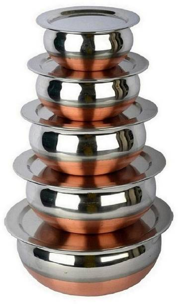 RBGIIT Stainless Steel Handi Set Copper Bottom handi set of 5 Cookware/ Container/pot pan/patila/bhagona/Serving bowl/biryani cook & serve Set With Lids Cookware Set/tapeli/pateli/patila/bhagona/milk biryani pot pan/serving bowl Handi/tableware/storage containers/bakeware/ dinner set/ kitchen set steel item for home appliances and kitchen serving cooking combo set with lid/cover/dhakkan/ storage container copper handi /URLI set fruit and salad bowl Cookware Sets Stainless Steel Plated Lids Cover thakkan Air Tight Lids Miixng Ramkin Salad Pasta Dal Rice Punjabi Indian Desi Kadhai Tea Coffee Milk Hot Water Every Gas Stove And Local Stove Very Use Full Tools Handis Bowls Small Size Tope Big Size Seving Handis Making Food And Cooking Kadhai Suitbale In Function Family Dinner Table Serving Decorative Stainless Steel Vassels Bowls Handi Cookware Set Pot Pan Sets Every Special Foe Kitchen Storage Container Serving Set Dinner Sets Q_6 Stainless Steel Disposable Serving Bowl