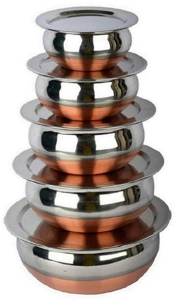 RBGIIT Stainless Steel Handi Set Copper Bottom handi set of 5 Cookware/ Container/pot pan/patila/bhagona/Serving bowl/biryani cook & serve Set With Lids Cookware Set/tapeli/pateli/patila/bhagona/milk biryani pot pan/serving bowl Handi/tableware/storage containers/bakeware/ dinner set/ kitchen set steel item for home appliances and kitchen serving cooking combo set with lid/cover/dhakkan/ storage container copper handi /URLI set fruit and salad bowl Cookware Sets Stainless Steel Plated Lids Cover thakkan Air Tight Lids Miixng Ramkin Salad Pasta Dal Rice Punjabi Indian Desi Kadhai Tea Coffee Milk Hot Water Every Gas Stove And Local Stove Very Use Full Tools Handis Bowls Small Size Tope Big Size Seving Handis Making Food And Cooking Kadhai Suitbale In Function Family Dinner Table Serving Decorative Stainless Steel Vassels Bowls Handi Cookware Set Pot Pan Sets Every Special Foe Kitchen Storage Container Serving Set Dinner Sets Q_1 Stainless Steel Disposable Serving Bowl