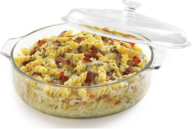 Priza Enterprise Glass Casserole Deep Round - (1 LTR) Oven and Microwave Safe Serving Bowl with Glass Lid Set of (1) Glass Serving Bowl