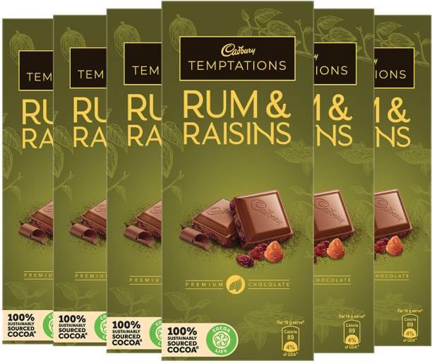 Cadbury Temptation Rum and Raisin Chocolate, 72g (Pack of 6) Bars