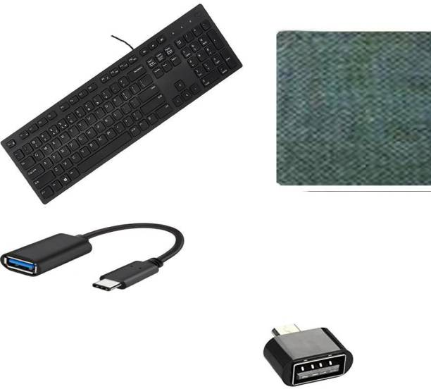 DELL Full-Sized Keyboard , Hotkeys and function for Desktop/Laptop/Smart TV Spill-Resistant Wired USB Keyboard with 10 million keystrokes lifespan Multimedia Keyboard (580-AEKD, Black) ) MOUSE PAD -USB Type-C OTG Adapter Cable Connector Cord pendrive Compatible… - MICRO ADOPTER Combo Set