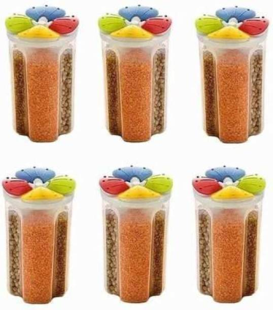 Flipkart SmartBuy Storage 4Section Container for Kitchen 2000ml 4Sections Air Tight Transparent Food, Grain, Cereal Dispenser Storage Container  - 2000 ml Plastic Grocery Container