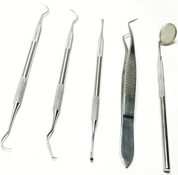 alis 5 Pcs Dental PMT Set, Dental Tools includes 3 Dental Probes + Dental Tweezer + Mouth Mirror for Oral Care Stainless, Steel Dental Hygiene Kit Set Dental Elevator