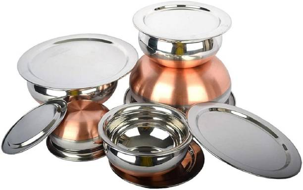 RBGIIT Pack of 10 Stainless Steel Stainless Steel Handi Set Copper Bottom handi set of 5 Cookware/ Container/pot pan/patila/bhagona/Serving bowl/biryani cook & serve Set With Lids (Stainless Steel, Copper, Induction Bottom) Stainless Steel Serving Bowl Stainless Steel Perfect Copper Handi Set for Everyday Use Whether you want to cook a delicious serving of your favourite sabzi or heat leftover curries from the previous day, the 5-piece copper handi set, Prabhu Chetty, Curved Copper Plate at Bottom, Best Quality Stainless Steel Copper Bottom 5 Pic Handi Pot Set, Brown & Steel, 5 Pic Handi Copper Vegetable Bowl ,Cooking Dinner Table Serving Biryani Pot Handi Kadhai , Panikarilikka Steel Handi 5 Pices Sets Handi 0.65 L, 0.85 L, 1.23 L, 1.83 L, 2.45 L (Stainless Steel) Dinner Set (Microwave Safe) Dinner Set