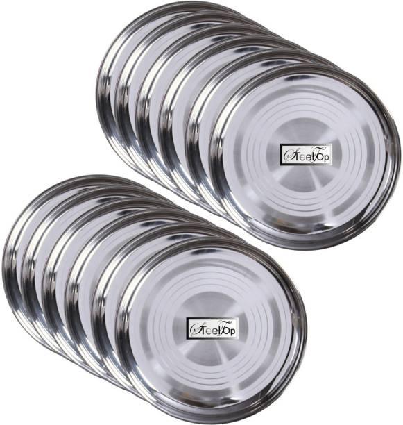 SteelGloss Pack of 12 Stainless Steel Pack of 12 Stainless Steel Quality Dinner Plate12 Plate Dinner Set