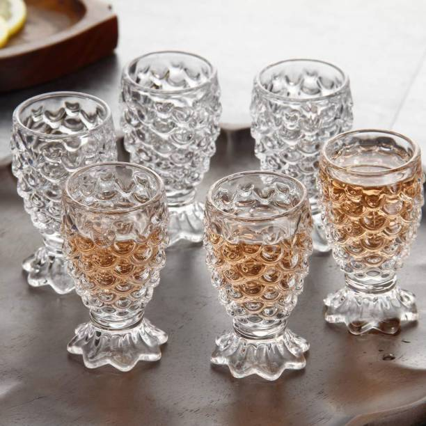 Redific (Pack of 6) 100% Crystal Clear Pineapple Shaped Juice Glasses | Drinking Glass | Set of 6 Pieces| 200 ml Each Glass Set