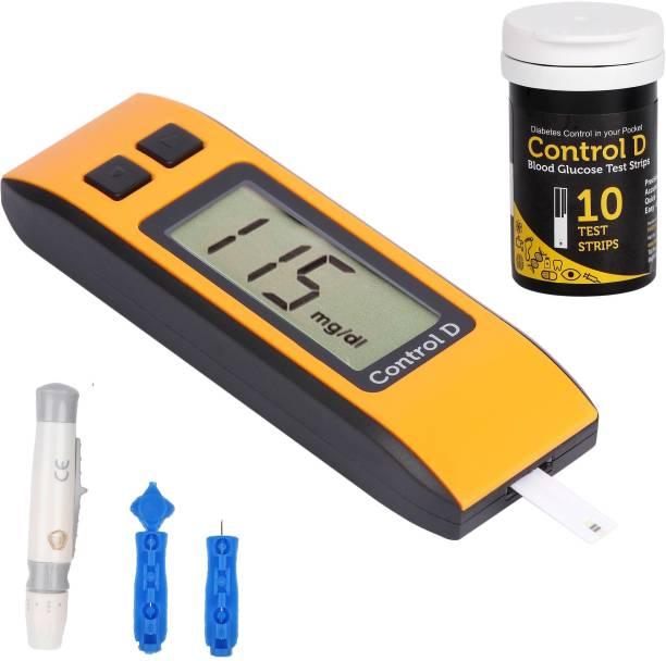 Control D Digital Sugar Testing Glucose Monitor Machine with 10 Strips Glucometer