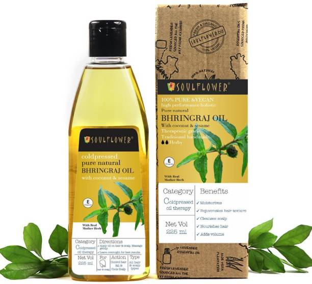 Soulflower Bhringraj Oil 225ml, 100% Premium & Pure, Natural and Coldpressed, For Mother Herb, Cooling Scalp, Strengthening and Nourishing hair roots, Hair Fall Control, Dandruff Control Hair Oil