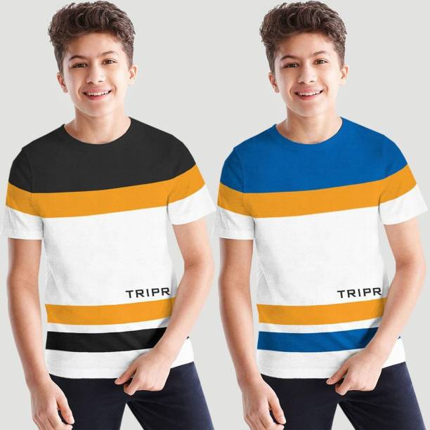 Tripr Boys Colorblock Cotton Blend T Shirt