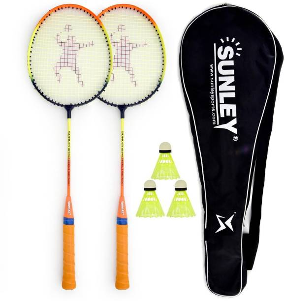 SUNLEY Swag Wide Body Badminton Combo Set of 2 Piece Racquet 3 Piece Plastic Shuttle with 1 Piece Attractive Cover Badminton Kit