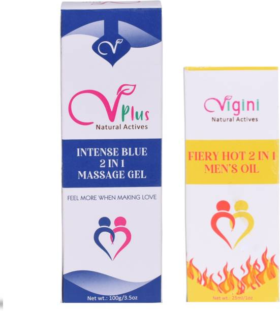 Vigini Plus 100% Natural Actives Intense Blue 2 In1 Aromatherapy Massage Gel & Fiery Hot Oil Effective Lubricant Lube Gel Jelly for Men Water Based Lubricating Lubrication No Added Color wash able Lubricant