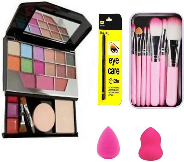 BK BUYKITTI 5024 makeup kit 2 pcs puff and 7 pink brushes set with kajal