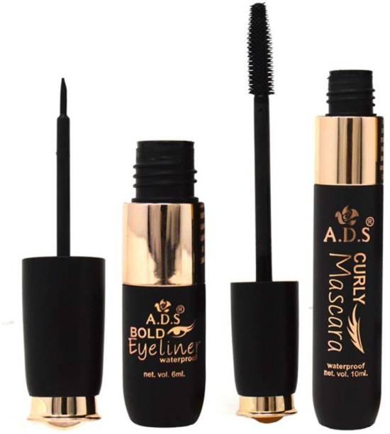 beauty fly ADS Waterproof & Bold Eyeliner & Mascara A1583, Black, 6ml+10ml, Pack of 2 10 ml