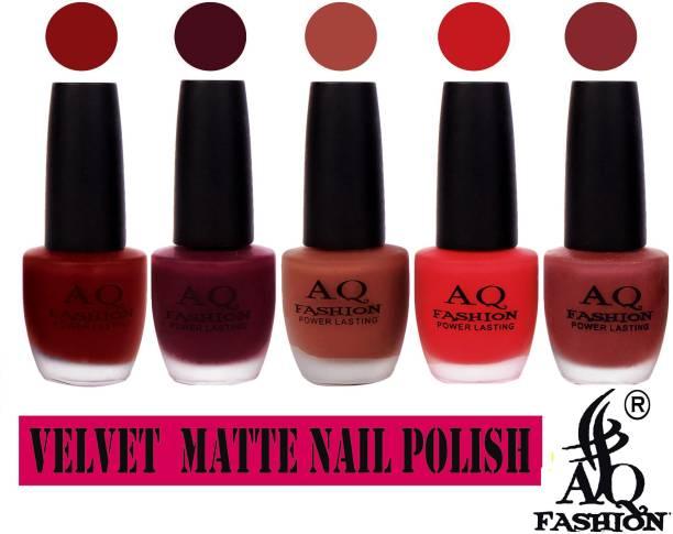 AQ FASHION Velvet Matte Nail polish Combo set 829 Nude Brown,Plum,Rosy Pink,Mauve,Red