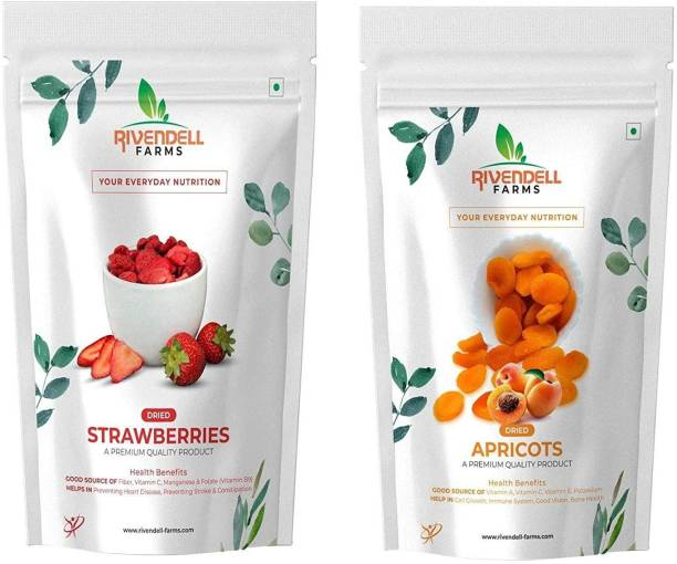 Rivendell Farms Dried Apricot & Strawberry Combo (400Gm Each), Naturally Dehydrated Fruits & Berries, Soft & Juicy Texture, Vacuum Packed, Non GMO, High in Anti-Oxidants Apricots, Strawberries