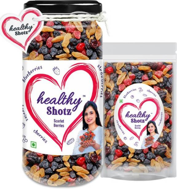 HEALTHY SHOTZ Scarlet Berries Help to Reduce Skin Wrinkles | 5+ Varieties Like Dried Cherries, Dried Blue Berry, Dried Strawberries | Glass Bottle & Small (Refill)