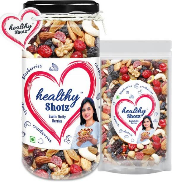 HEALTHY SHOTZ Exotic Nutty Berries Help to Reduce Skin Wrinkles | 9+ Varieties Like Brazil Nuts, Hazel Nuts, Dried Strawberries | Glass Bottle & Small (Refill)