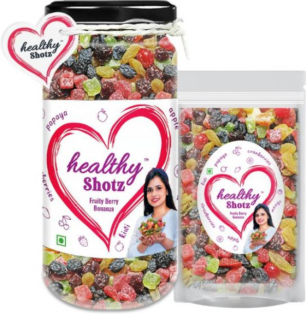 HEALTHY SHOTZ Fruity Berry Bonanza Help to Reduce Skin Wrinkles | 6+ Varieties Like Dried Mango, Dried Kiwi, Dried Papaya, Dried Cherries | Glass Bottle & Small (Refill)