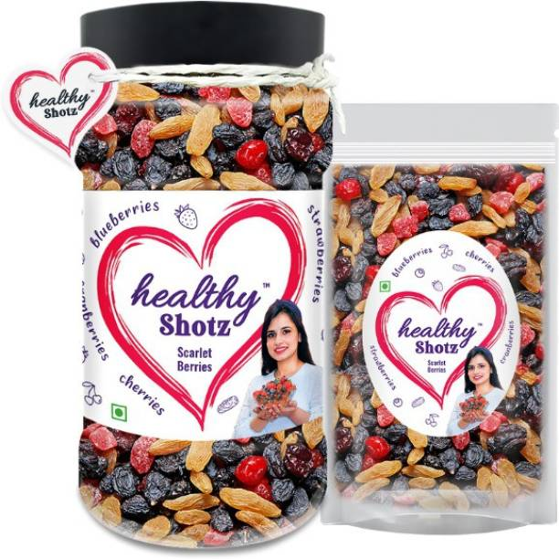 HEALTHY SHOTZ Scarlet Berries Help to Reduce Skin Wrinkles | 5+ Varieties Like Dried Cherries, Dried Blue Berry, Dried Strawberries | Pet Bottle & Large (Refill)