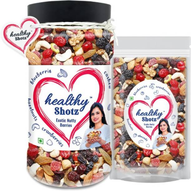 HEALTHY SHOTZ Exotic Nutty Berries Help to Reduce Skin Wrinkles | 9+ Varieties Like Brazil Nuts, Hazel Nuts, Dried Strawberries | Pet Bottle & Large (Refill)