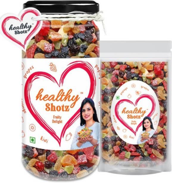 HEALTHY SHOTZ Fruity Delight Help to Reduce Skin Wrinkles | 6+ Varieties Like Dried Mango, Dried Kiwi, Dried Papaya, Dried Cherries | Glass Bottle & Small (Refill)