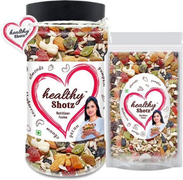 HEALTHY SHOTZ Nutritious Fusion Brazil Nuts, Pista and Black Raisin Combo Mixed Seeds For Boost Endurance | Immunity Boosting Mixed Dried Fruits | Pet Bottle & Large (Refill)